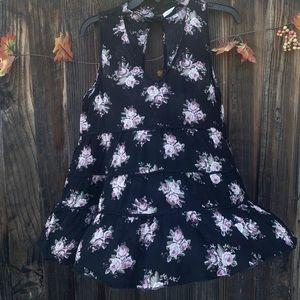 American Eagle black sleeveless floral ruffle top